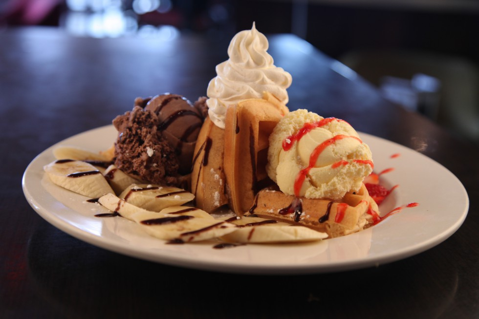dessert waffle chocolate and vanilla ice cream bananas and ...