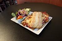 comfort food chicken parmesan pasta sandwich