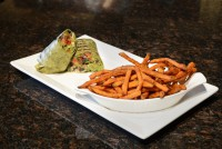 vegetarian grilled wrap sweet potato fries lunch special