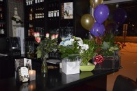 flowers and balloons restaurant opening bouquet