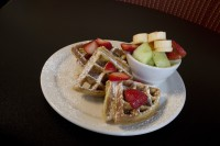 home made waffle breakfast dining