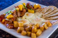 best breakfast gourmet eggs pork homefries pita