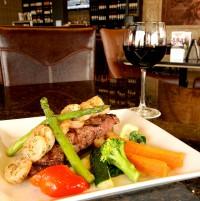 steak new york with shrimp red wine symposium ajax cafe restaurant lounge dinner