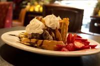 waffles and icecream choc straw whip