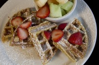waffle fruit breakfast lunch restaurant meal