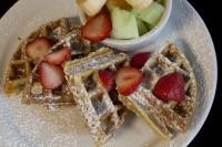 waffle fruit breakfast lunch restaurant meal