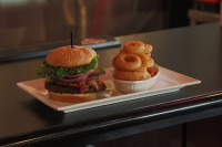 london ontario symposium cafe cheeseburger with bacon and onion rings