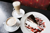 guelph ontario symposium cafe brownie cheesecake, latte and cappucinno