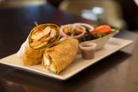 crispy chicken wrap with salad georgetown ontario symposium cafe