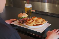 mississauga ontario burger, onion rings and a pint of beer oakville ontario