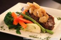 steak, shrimp, veg