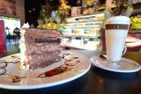 triple layer chocolate cake & latte mississauga ontario symposium cafe