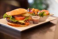 cheeseburger, bacon and salad
