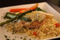 salmon pesto dinner