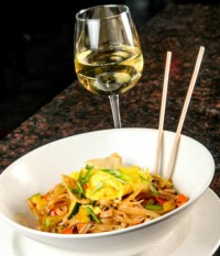 pad thai dinner & white wine