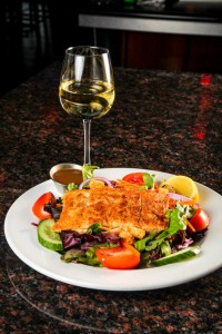 restaurant salmon salad & white wine
