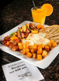 breakfast brunch gourmet homefries pork pineapple orange juice