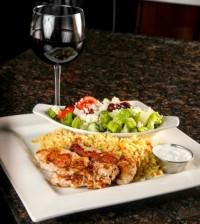 entree dinner souvlaki and wine