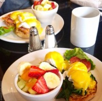 breakfast restaurant menu eggs benedict fruit salad