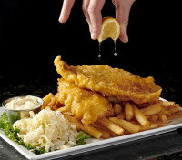 fish and chip dinner coleslaw crispy haddock