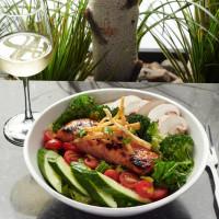 teriyaki salmon salad wine lunch