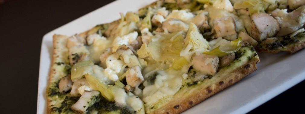 best appetizer menu flatbread chicken pesto cheese cambridge restaurant