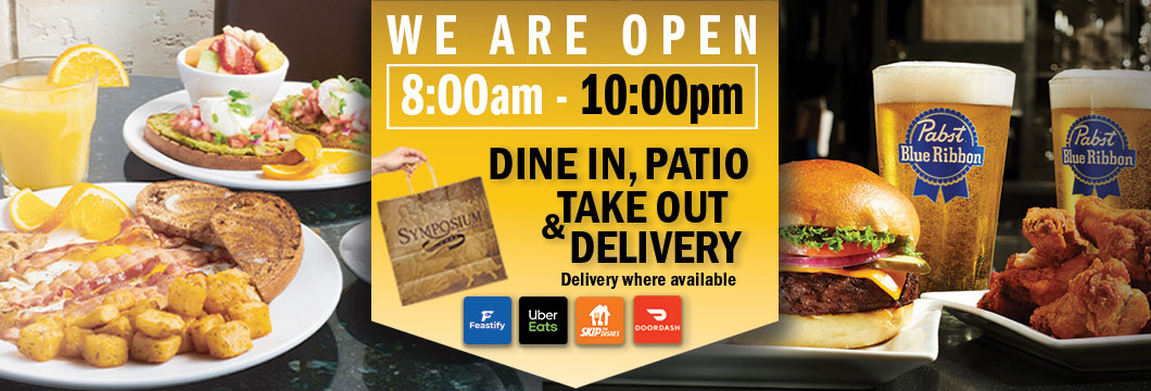 Symposium Cafe Woodbridge Patio dining restaurant, take out, delivery