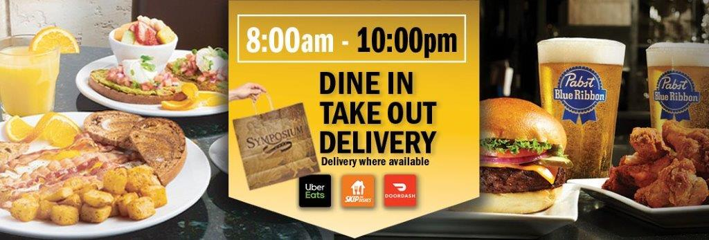 Symposium Cafe Alliston Patio open for dining breakfast lunch dinner