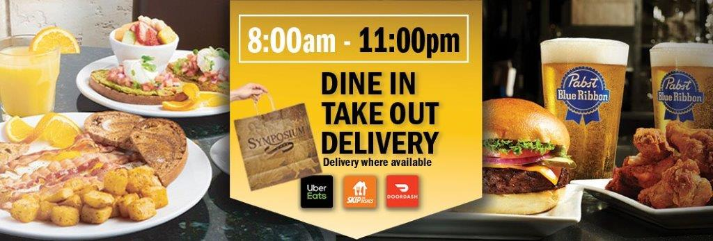 Symposium Guelph Patio indoor dining restaurant, take out, delivery