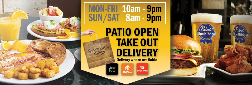 Symposium Cafe Keswick Patio dining restaurant, take out, delivery