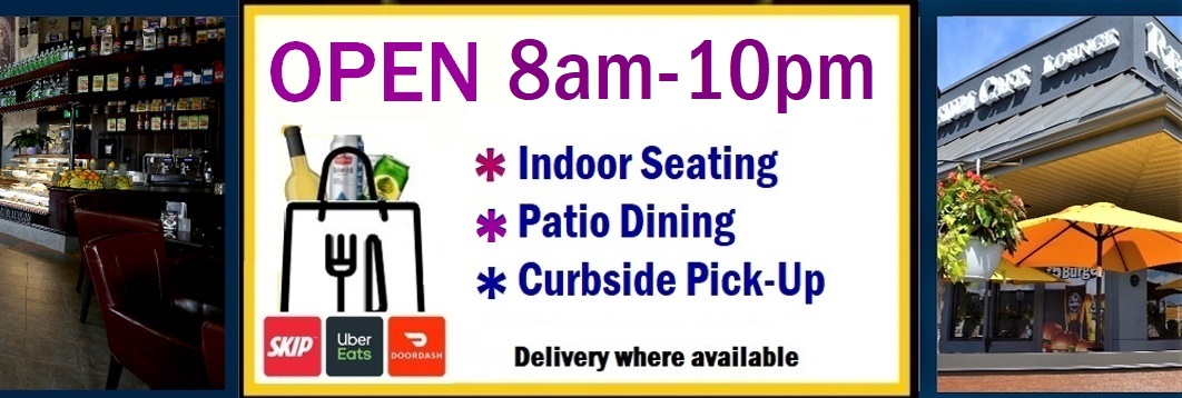 Symposium Lindsay Patio indoor dining restaurant, take out, delivery
