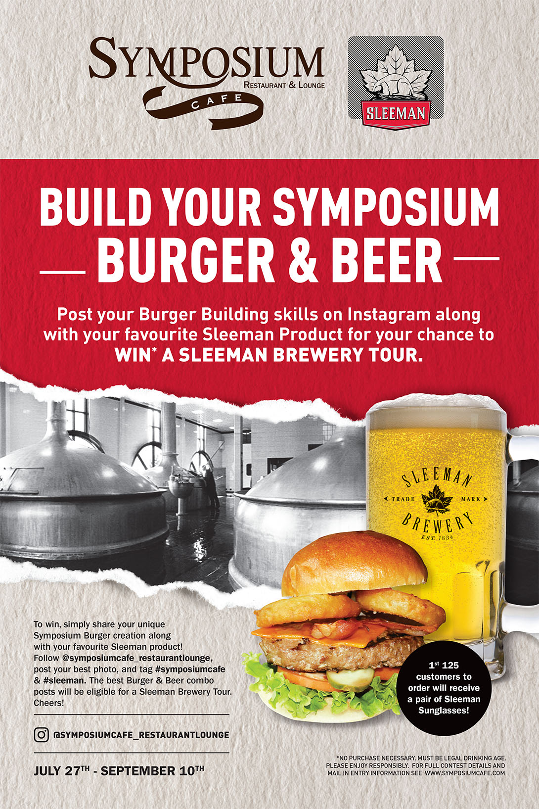 BUILD YOUR SYMPOSIUM BURGER & BEER & WIN A SLEEMAN BREWERY TOUR!